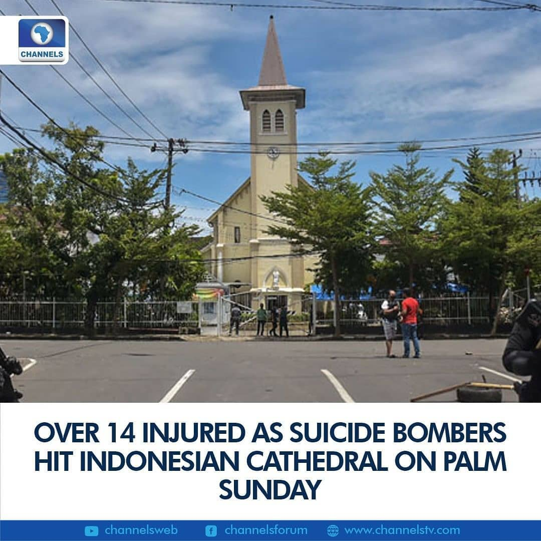 "An Indonesian cathedral was rocked by a suicide bombing on Sunday with body parts littering the chaotic scene as Christians inside celebrated the start of Holy Week.  The powerful blast at the church in Makassar city on Sulawesi island happened around 10:30 am local time (0330 GMT) and left at least 14 church officials and congregants injured by debris, police said.  It was not clear if their wounds were life threatening.  ""There were two people riding on a motorbike when the explosion happened at the main gate of the church — the perpetrators were trying to enter the compound,"" National Police spokesman Argo Yuwono said.  ""The bike was destroyed and there are body parts… We're still collecting parts and trying to identify the sex of the perpetrators.""  Earlier, local police had said at least one bomber died at the scene. They have not confirmed if both attackers were killed.  Makassar Mayor Mohammad Ramdhan said: ""There are many body parts here at the church compound as well as in the street."""