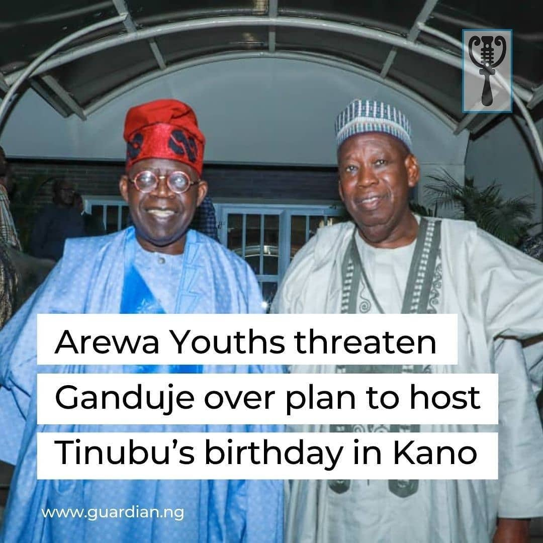 """Arewa Youth Consultative Forum, (AYCF) has said it would take legal action against Kano State Governor, Abdulahi Ganduje over his plans to use the state's Government House for Bola Tinubu's birthday, describing it as """"an insult on the symbol of authority that the Government House has been to the Kano people for decades"""".  A statement signed by the AYCF National President, Alhaji Yerima Shettima, took exception to the choice of Kano Government House as the only place in the North for celebrating Tinubu's birthday, """"a man who kept quiet while Northerners were under attack in Oyo and some parts of the Southwest.   While people from Ganduje's Northern Nigeria were being maimed, Tinubu kept mute even when Northerners' assets were being destroyed in the guise of hunting down imaginary herdsmen he could not even condemn the violence. Yet this is shamelessly the special guest for Ganduje in Kano Government House.""""  They argued that Kano is not only the financial nerve centre of the North but also """"the symbol of the region's cultural and historical pride and we won't fold our arms and watch this pillar turned into a birthday party venue for people who are not officials of any government in the country"""".   They asked Ganduje not to allow himself be used as the only governor in the North to avail a symbol of authority for a private citizen's birthday party, something no Lagos State Governor has ever done to even the most respected politicians or private individuals from the North.   """"We wish to advise Ganduje to drop this idea of hosting a private individual inside Government House, or we will apply all legitimate means of stopping this embarrassing wastage and denigration of the official abode of a governor for fun."""" """