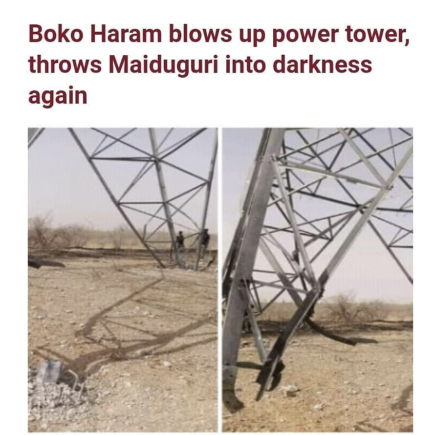 Boko Haram terrorists haveblown up a power tower in Maiduguri, plunging the capital city into darkness again barely three days after electricity was restored.  The terrorists had struck power installations thrice to keep the city in the dark in January. Channels Television reported that it tookpower authorities almost two months to repair the damage inflicted in January as the insurgents laid land mines, which injured officials of the Transmission Company of Nigeria when repairs commenced.  However after electricity was restored on Wednesday March 24, the insurgents launched another attack on a power tower in the city.