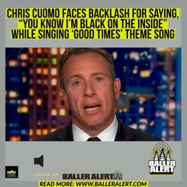 """Chris Cuomo Faces Backlash For Saying, """"You Know I'm Black On The Inside"""" While Singing 'Good Times' Theme Song  CNN host is in hot water — and not for refusing to cover his brother, New York Governor #AndrewCuomo, who is under fire for sexual misconduct allegations. Instead, it's for making a racially insensitive comment to colleague on-air Friday night.   A video clip of the exchange was widely shared on social media. It shows Cuomo hand over to Lemon while singing the theme to the 1970s TV show """"Good Times.""""  Lemon, laughing awkwardly, asks Cuomo how he knows the words to the theme song of a series about a Black family living in a public housing project in Chicago.  To which Cuomo responds, """"You know I'm Black on the inside.""""  Lemon gave his fellow host a pass on the insensitive comment, even singing along with Cuomo."""