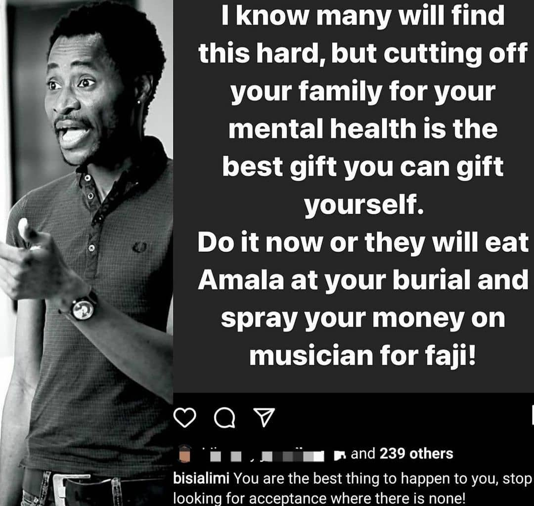 """""""Cutting off your family for your mental health is the best gift you can give yourself"""" - Gay rights activist, Bisi Alimi writes"""
