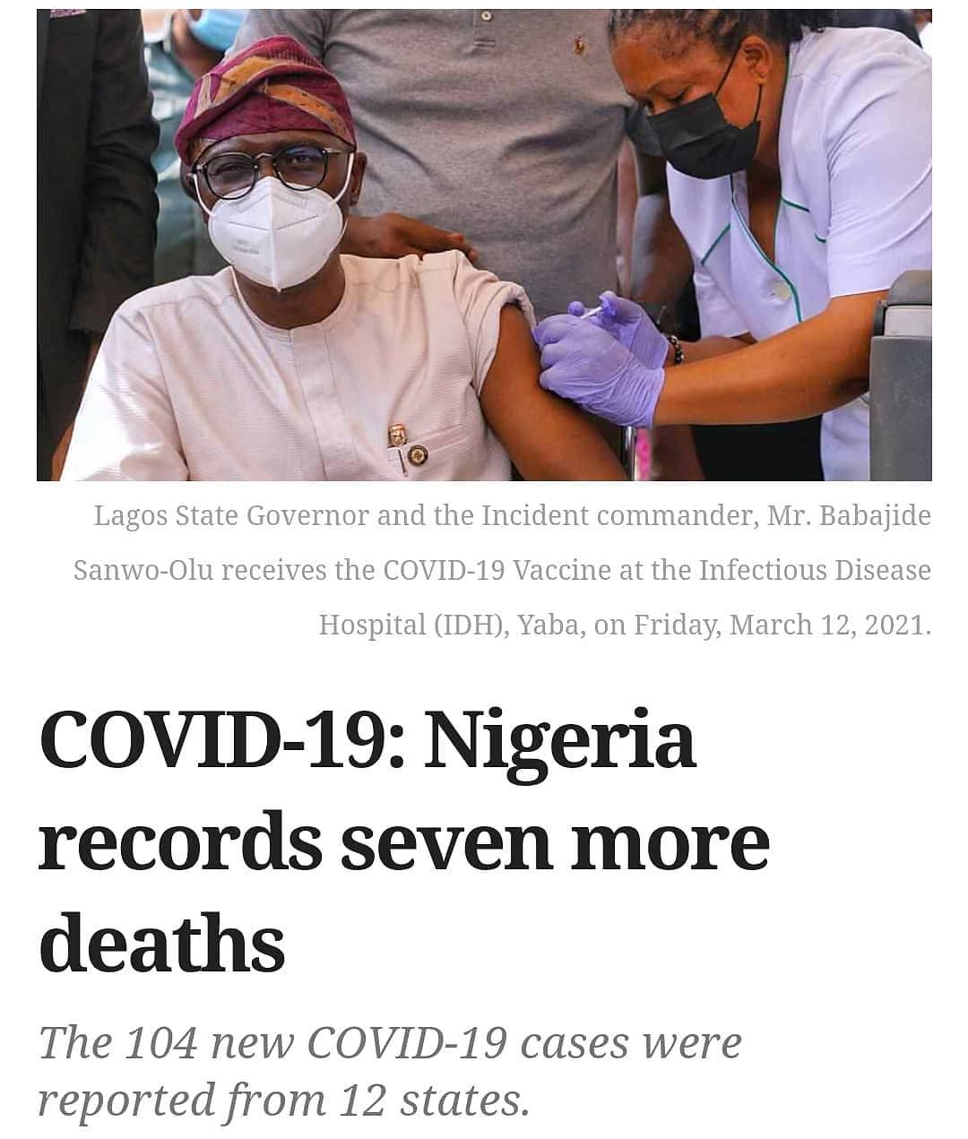 Daily deaths from COVID-19 in Nigeria seem to be resurging after almost two weeks of low figures as seven people died from the disease on Sunday.  The seven deaths on Sunday raised the fatalities in the country to 2,048 in total.  This is according to an update published by the Nigeria Centre for Disease Control (NCDC) Sunday night.  In continuation of a steady run of low infection figures, the country recorded 104 new cases under 24-hours, one of the lowest daily figures this year.  The new figure which is slightly higher than the 101 cases recorded a day earlier raised the total number of infections in the West African nation to 162,593.  In the past one week, daily infections have fallen below 300.  Also, a total of 150,308 people have recovered after treatment while about 11, 000 infections are still active in the country.  Specifics  The 104 new cases were reported from 12 states – Lagos (48), Enugu (16), Kwara (8), Kaduna (6), Plateau (5), Kano (5), Rivers (4), FCT(4), Ogun (4), Edo (2), Ekiti (1) and Katsina (1).  Lagos had the highest figure with 48 new cases on Sunday followed by Enugu and Kwara with 16 and 8 new cases respectively.