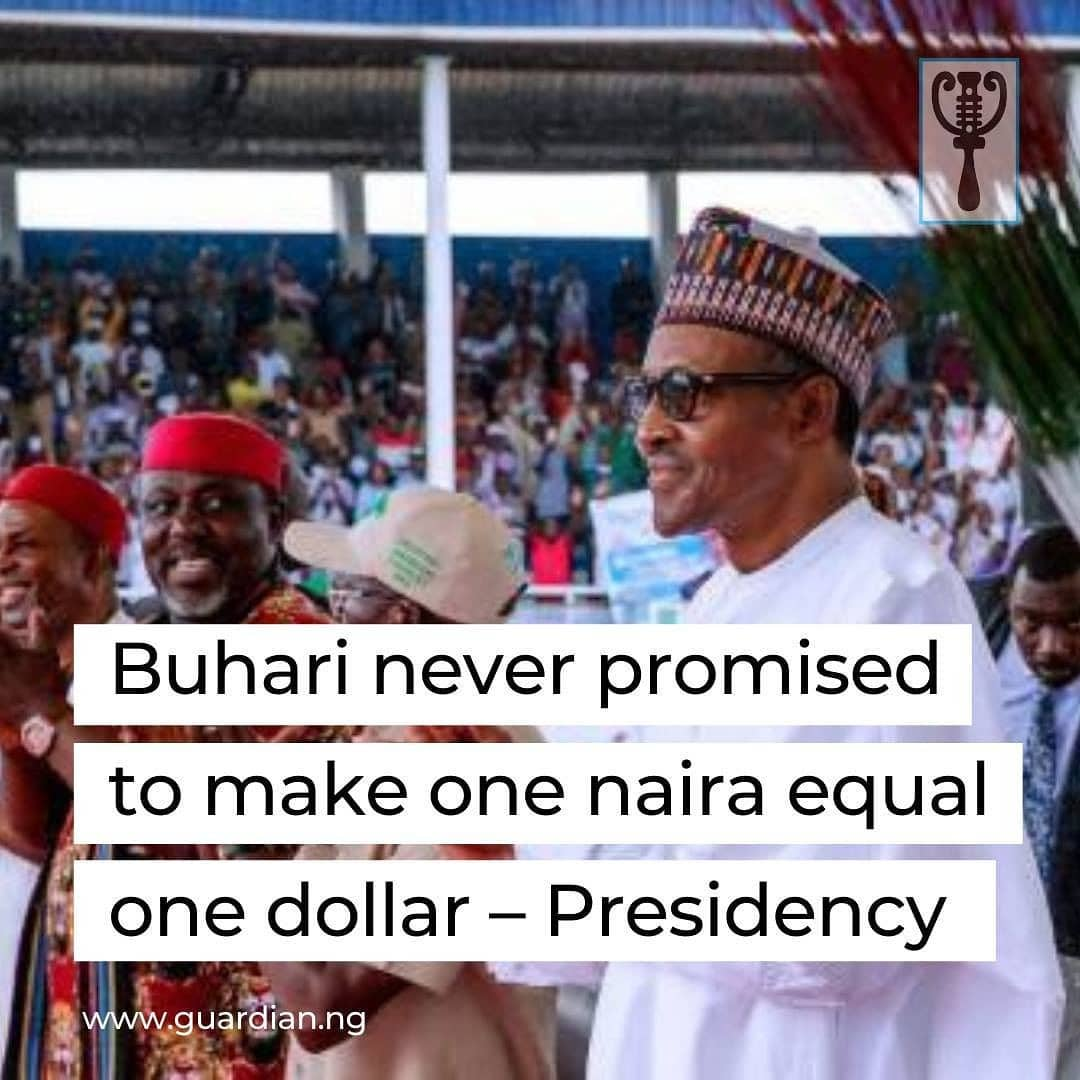 """Femi Adesina, a presidential aide has denied that President Muhammadu Buhari's administration promised to make one naira become equivalent to one dollar at any point in time.  Adesina stated that the claims suggesting that President Muhammadu Buhari made such a promise are false.  """"It does not exist, it is fake, it is false, it is apocryphal, and it doesn't exist,"""" he said.  Adesina stated this while appearing as a guest on Channels Television's Sunday Politics.  Documentary evidence of President Buhari promising to make the naira at par in value with the US dollar may not be out there, but in a March 23, 2015 rally in Owerri, precisely at the Dan Anyiam Stadium, in the Imo State capital, candidate Buhari of the APC reportedly said he would ensure that the Nigerian currency was equal to the dollar in value if voted into office, adding: """"It is sad that the value of the naira has dropped to more than N230 to one dollar; this does not speak well for the nation's economy.'' """