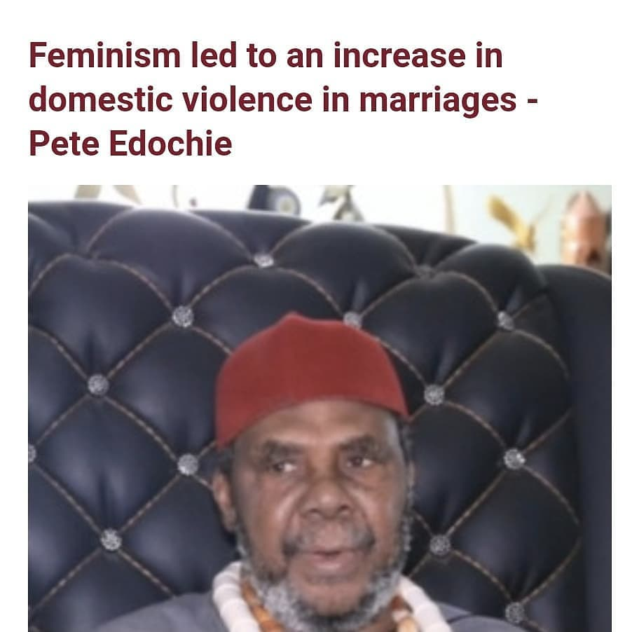 """Pete Edochie has blamed feminism for the rise in domestic violence and broken marriages.  Speaking to BBC Igbo, the veteran actor stated that feminism isn't our culture as Africans.  He said when a woman leaves her parents and follows her husband, she's to do whatever her husband wants her to do.  He further stated that in most cases of domestic violence, women are to blame because they are no longer submissive.  He also complained that women today don't know how to do basic things like cooking to keep their husbands happy, despite getting a formal education.  He said his mother didn't get a formal education, yet she cooks a variety of dishes very well in a way that's pleasing to his father.  """"Any woman who cannot cook cannot call herself a woman, no,"""" he said.  He continued: """"This thing called feminism, that's what leads to women getting beaten in marriages.  """"When you talk to a woman, she will respond to you. When she responds to you, you won't be able to bear it so you'll stretch out your hand and beat her up.""""  He said he doesn't like seeing women cry because it touches him deeply but women are the ones who do things that lead to the beating.  He went on to say that women's understanding is limited. He added that he has dealt with a lot of women, including working with them as their boss and he has come to the conclusion that their understanding is small.  He said in Igbo: """"Its not everything they explain to you that you people understand. For the record, women's understanding is limited, let me tell you the truth.  """"I don't hate them but I've had dealings with them a lot, including those at work where I'm the head. Their understanding is limited to a large extent, do you understand?""""  He also insisted that the African culture doesn't worship women like they do in western countries.  He said: """"This thing called feminism has no usefulness. We don't worship women in our culture.  """"White people worship women.  """"If you notice in the western countries, three or four """