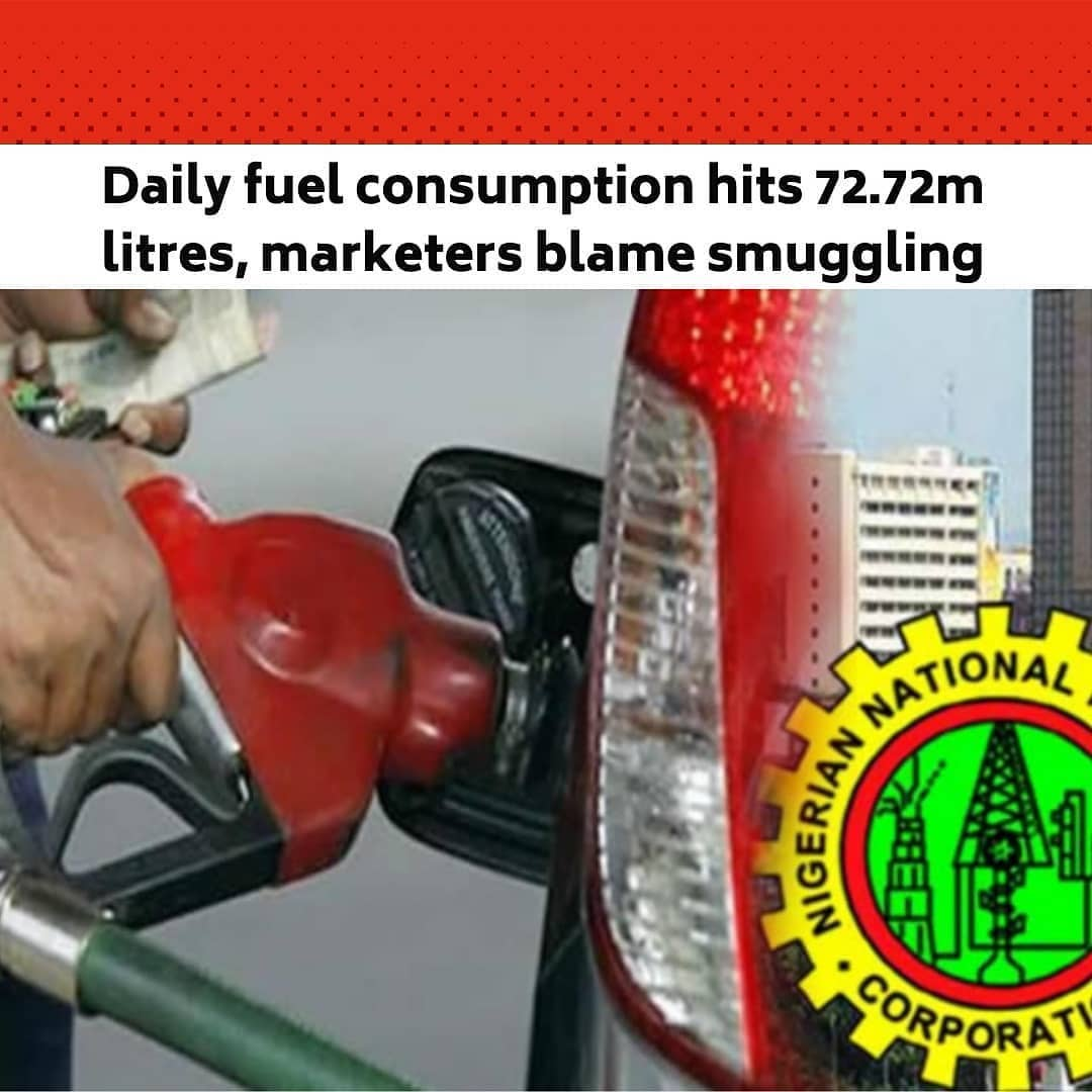 "Petrol supply by the Nigerian National Petroleum Corporation hit a high of 72.72 million litres daily in December amid the smuggling of the product to neighbouring countries, 'FEMI ASU reports .  The supply of Premium Motor Spirit (petrol) by the NNPC, which is the sole importer of the product into the country, has risen above the pre-COVID-19 levels, crossing 70 million litres daily in the fourth quarter of last year. .  The corporation said last Thursday that 2.25 billion litres of petrol were sold and distributed in December. This translates to 72.72 million litres per day, compared to 57.44 million litres in November. .  It said 2.26 billion litres of petroleum products were sold and distributed by its subsidiary Petroleum Products Marketing Company in December, compared to 1.72 billion litres in November. .  Petrol supply by the NNPC jumped to 77.17 million litres daily in October from 52.63 million litres in September and 63.27 million litres in January 2020, according to NNPC data obtained by our correspondent. .  Prior to the regime of the President, Major General Muhammadu Buhari (retd), the country's petrol consumption was estimated at between 35 million to 40 million litres daily. .  As recent as February 8, 2018, the NNPC in a statement put the country's petrol consumption level at 35 million litres daily. .  In June last year, the Group Managing Director of the NNPC, Mele Kyari, at an interactive hearing organised by the Joint Senate Committee on Petroleum Resources (Upstream and Downstream), said petrol was being smuggled out of Nigeria to neighbouring countries. .  He said, ""We don't know how much petroleum products we consume daily in this country, but we know how much of the product that is taken out of depot. .  ""This year, around 54 million litres of petroleum products are evacuated from the depot daily, but the consumption is somewhere below that. .  ""The NNPC has no knowledge of the amount of products that are transported through Nigeria's borders to neighbouring countries. It is impossible to know; nobody declares it, and therefore as it crosses, it goes."" --"