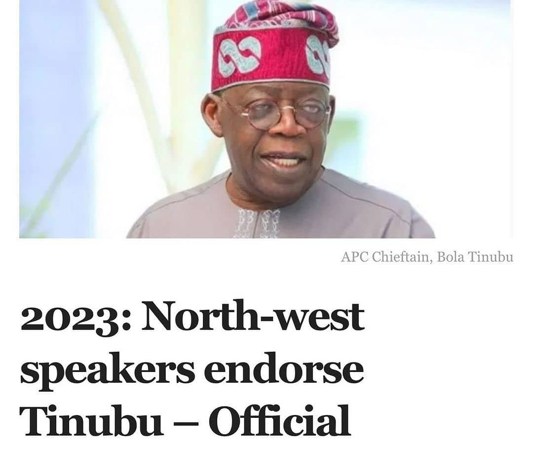 """Speakers of states' houses of assemblies from North-west Nigeria have endorsed the national leader of the All Progressives Congress (APC), Bola Tinubu, for president in the 2023 general election, Mudashiru Obasa, the Speaker of the Lagos Assembly has said.  A statement issued by Mr Obasa's media office Saturday said the speakers pledged their support at a meeting held at Kano on Friday.  A former speaker from Kano, Abdullahi Yanshana, reportedly said """"95 per cent of the votes from Kano in 2023 will be in favour of the national leader of the APC"""", the statement said.  Mr Obasa said both the serving speakers and their predecessors in the North-west zone declared their support for Mr Tinubu as the successor to President Muhammadu Buhari in 2023.  Mr Tinubu, a former senator and two-term governor of Lagos State, has not officially declared interest to run for office in the next election. But recent moves by forces loyal to him show it's a matter of time before he makes his intention known.  The APC leader was in Kaduna on Saturday where he chaired the Arewa House 11th annual lecture.  Over the past few months, several 'youth' groups have clamoured for Mr Tinubu's candidacy in 2023.  Mr Obasa said the endorsement by the northern speakers and ex-lawmakers is coming some weeks after speakers in the South-western zone did the same.  """"We should now be thinking beyond him being the flagbearer of the APC and concentrate on securing victory for him in the actual election.  We know that 90 per cent of the structure of the party is built by Tinubu,"""" Mr Yanshana said.  The lawmakers also reportedly praised Mr Tinubu for being able to unite the South-west, saying that """"his leadership qualities are scarce in some other zones of the country and are an advantage for the entire country"""".  Some lawmakers who attended the meeting, according to the statement, include Abdu Dauda from Jigawa; Moh'd W. G. from Sokoto; Aliyu Auwal from Kaduna; Aliyu Muduru from Katsina; Ahmad Garba from Jigaw"""