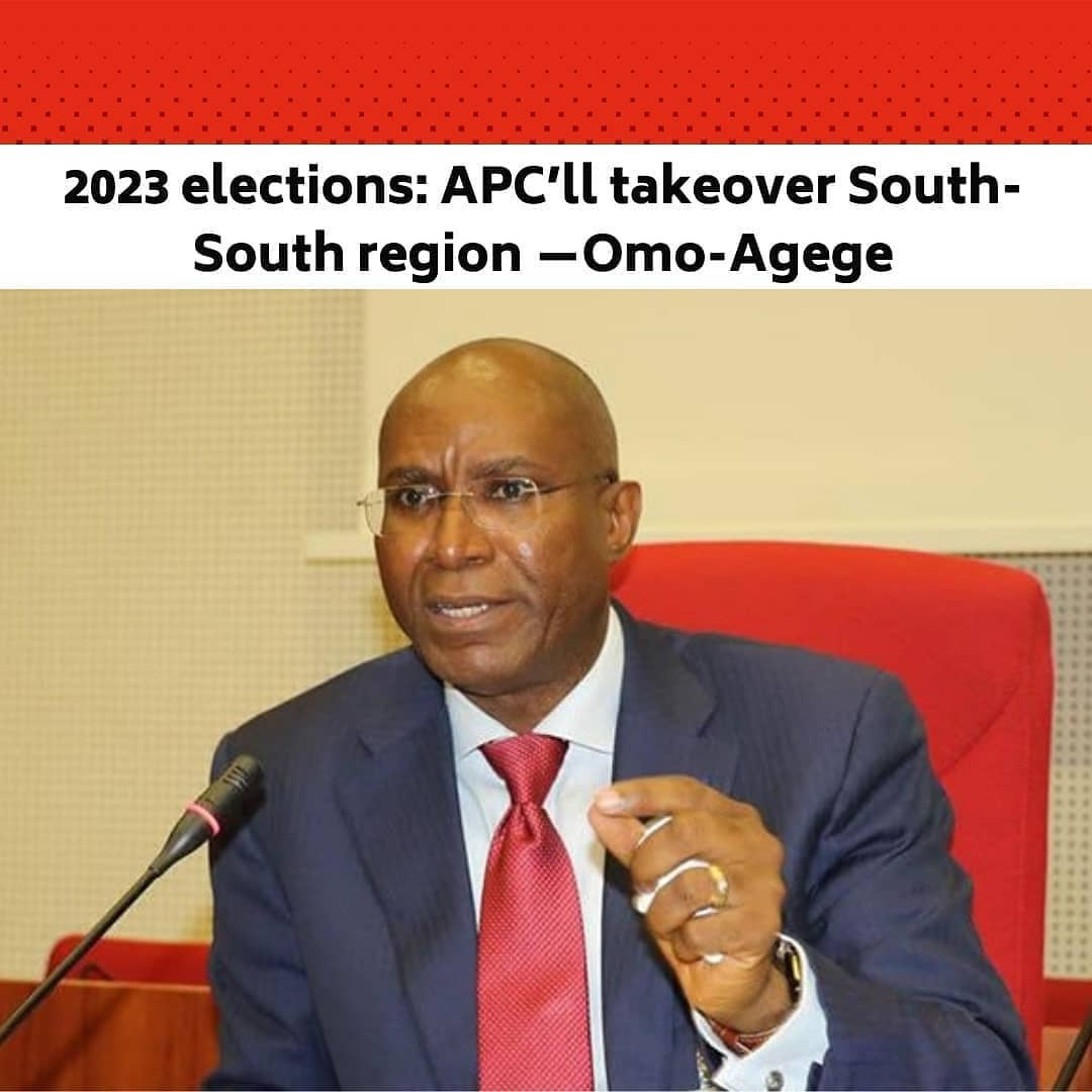"The Deputy Senate President, Senator Ovie Omo-Agege, has said he believes his party, the All Progressives Congress would take over the six states of the South-South region in 2023. .  The Senator is said to have made the remarks on Saturday while addressing newsmen at the end of the party's South-South Zone 'Town Hall Meeting' on Constitution Review in Asaba, Delta. .  This was disclosed in a statement titled '2023 elections: APC'll takeover South-South region – Omo-Agege,' issued on his official Twitter handle. .  ""The South-South region is growing to become a formidable base of our great party. .  ""By the end of the 2023 general elections, it is our aspiration to have in our column, control of all the six states in the region. .  ""This is possible and we intend to make it happen,'' Omo-Agege said. .  The Senator said the APC is determined and has what it takes to ensure the dream comes to reality. .  He said the party was robbed after winning some states in the region in past elections. --"