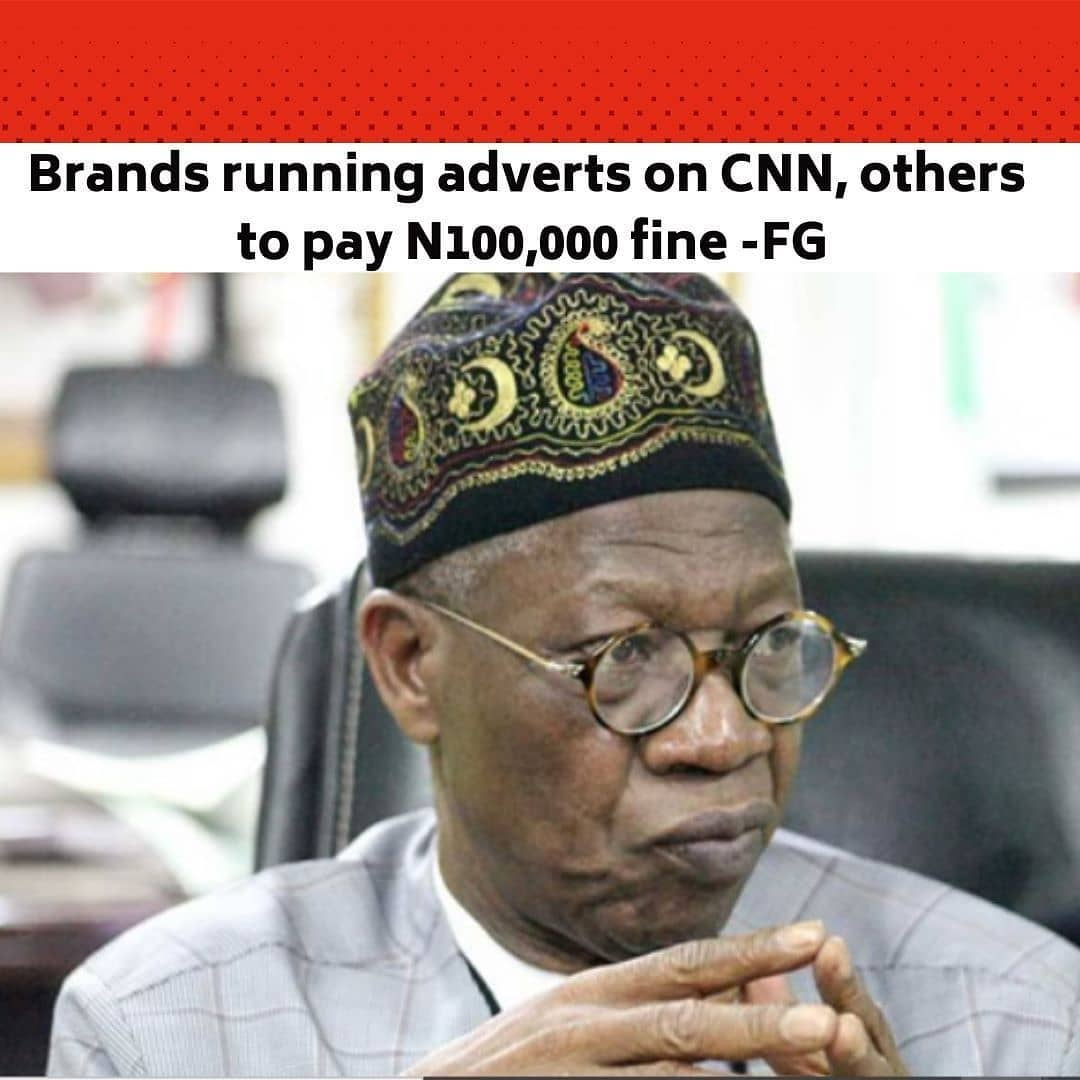 """The Minister of Information and Culture, Lai Mohammed, says Nigerian brands like Guinness which run adverts during foreign matches must compulsorily advertise during Nigerian Premier Football League games. . The minister further stated that brands that create their adverts abroad but broadcast them on CNN and other international stations broadcasting in Nigeria will pay a fine of N100,000 each time such adverts are run. . Mohammed said this was one of the rules included in the Broadcasting Code which has been rejected by many in the industry. . The minister said on NTA's 'Good Morning Nigeria' programme on Monday that this was the only way to help the local league thrive. . He said, """"Let's assume you have brought in La Liga, and during the matches, Guinness is advertised, we will compel you, we will compel Guinness to also advertise when we are playing a local league. That is the only way we can grow this industry but as can be expected, we have had very few supporters."""" . He said in the event that the brand wants to run the advert on a local station like NTA, the brand would pay a N100,000 fine each time it is broadcast. . Mohammed added that adverts promoting Nigerian brands must be directed and authored by Nigerians inside the country. . The minister said """"If you do an advert in South Africa, you put it on CNN and we look at that advert and we see that the advert was not made in Nigeria but actually made in South Africa, or you see that five times a day, it is on CNN, you pay half a million to us. The half a million will go to the Content Development Fund."""" . He further stated that the NBC had been asked to implement a regulation mandating exclusive licensees and broadcasters to share exclusive rights with other broadcasters. . Mohammed said this policy would ensure that Multichoice would no longer have the monopoly of broadcasting the English Premier League. --"""