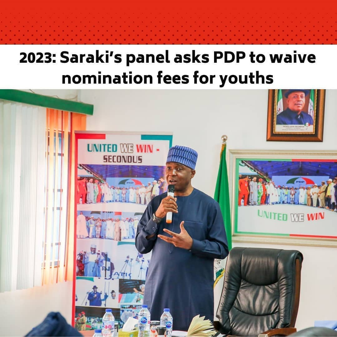 """The National Reconciliation and Strategy Committee of the Peoples Democratic Party has recommended measures that would encourage youths active participation in politics.  The NRSC being led by a former Senate president, Bukola Saraki, has specifically advised the PDP leadership to allow any aspirant below 35 years, seeking to contest elective position on the platform of the party to be exempted from the payment of nomination fees.  The recommendation is contained in a one-page letter dated March 25, 2021, signed by Saraki and addressed to the PDP National Chairman, Uche Secondus.  The Committee also advised the National Working Committee to immediately recommend to the National Executive Committee that the party constitution be amended to that effect.  The letter states that, """"only persons not less than 18 years old and not more than 35 years can contest for the position of Youth Leader at all levels of the party structure – wards, local government, state and national"""".  The committee explained that the recommendation was a result of the meeting it held with the party's National Youth Leader and other youth leaders across the 36 states of the nation on March 9th, 2021.  """"In furtherance of its mandate to resolve disputes, reconcile aggrieved members and foster cohesion and unity within the party,"""" the letter added.  The youths, the committee noted, presented some requests during the meeting and the demands were deliberated upon by the committee on March 22nd, 2021 following which the two-point recommendations contained in the letter were agreed upon.  The letter added, """"The implication of the recommendation on waiver of the nomination fees for youths aspiring to various offices means that where the party guidelines for instance demand that a gubernatorial aspirant pay N20m for nomination form and N1m for Expression of Interest form, any aspirant below the age of 35 years, will get the nomination form at no cost while they only pay the N1m Expression of Interest fee. """
