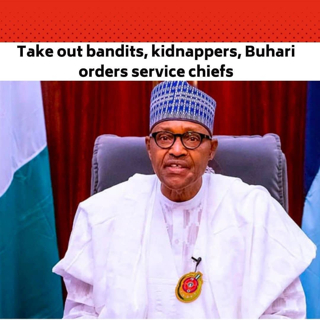 The National Security Adviser, Major-General Babagana Monguno (retd.), on Tuesday quoted the President, Major General Muhammadu Buhari (retd.), as directing the nation's service chiefs to identify masterminds of banditry and kidnapping as well as the sponsors with a view to taking them out. . The NSA told State House correspondents that Buhari handed down the directive at a meeting he had with the service chiefs at the Presidential Villa, Abuja. . He quoted the President as saying that a situation where the armed forces are reactionary rather than being proactive will no longer be tolerated. . Buhari met the service chiefs ahead of his trip to London for a routine medical check-up. --