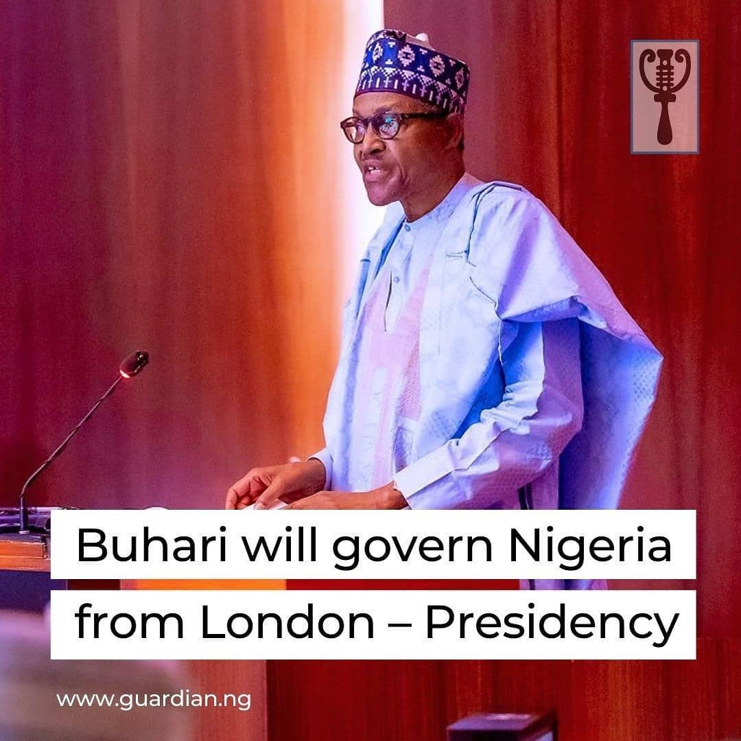 "The Presidency has told Nigerians that President Muhammadu Buhari will govern the country from wherever he is, insisting that it unnecessary for him to transmit power to the Vice President, Professor Yemi Osinbajo⁣ ⁣ Buhari departed Nigeria for London, the United Kingdom on Tuesday for what the Presidency described as a routine medical checkup.⁣ ⁣ He will spend a minimum of two weeks in the United Kingdom and many Nigerians were concerned about him not transmitting power to Osinbajo.⁣ ⁣ But appearing on Channels Television's Politics Today, Tuesday's edition, Senior Special Assistant to the President on Media and Publicity, Garba Shehu, explained that Buhari has not contravened the laws of the land by not transmitting power to his deputy.⁣ ⁣ ""He (Buhari) will continue from wherever he is,"" Shehu said when asked if the President had transferred duties to the vice president.⁣ ⁣ He added, ""The requirement of the law is that if the President is going to be absent in the country for 21 days and more, then that transmission is warranted. In this particular instance, it is not warranted.""⁣ ⁣"