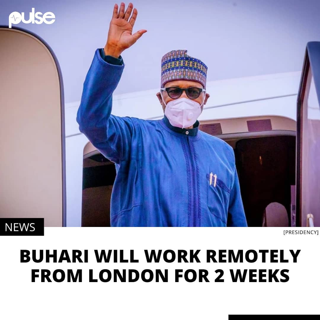 """The Presidency says Buhari is not in any sick condition.  The Presidency says President Muhammadu Buhari will continue to exercise his powers while he's in London for the next two weeks. Buhari left Nigeria for the United Kingdom on Tuesday, March 30, 2021 for a routine medical check-up and won't be back till the second week of April.  Quizzed on why the president did not transmit powers to Vice President Yemi Osinbajo, Buhari's spokesperson, Garba Shehu, told Channels TV on Tuesday night that it was unnecessary.  Noting that Buhari is not in any sick condition, Shehu said the president is capable of carrying out his duties as the nation's leader while on his medical trip.  """"He will continue from wherever he is. The requirement of the law is that if the President is going to be absent from the country for 21 days and more, then a transmission (of power to the VP) is warranted. In this particular instance, it is not warranted,"""" Shehu said.  The president is a frequent flier to the United Kingdom where his doctors routinely check him, or treat him for undisclosed ailments.  His medical trips have proved controversial in the past when the president has stayed in London for extended periods, fueling speculations that he was too ill to lead the country.  Shehu on Tuesday night rejected criticism that the president is a medical tourist, arguing instead that he's simply loyal to the same doctors that have been treating him for decades.  """"I think the president is wise and quite correct in his decision that he retains consistently the set of doctors who have ensured good health for himself,"""" he said.  When he was challenged on Buhari's failure to fix the health sector enough to ensure he doesn't have to travel abroad for medical treatment, the president's aide said the administration is trying its best but that resources are scarce.  He lamented that the nation's resources are already spread thin across numerous sectors so much that significant progress has not been made in """