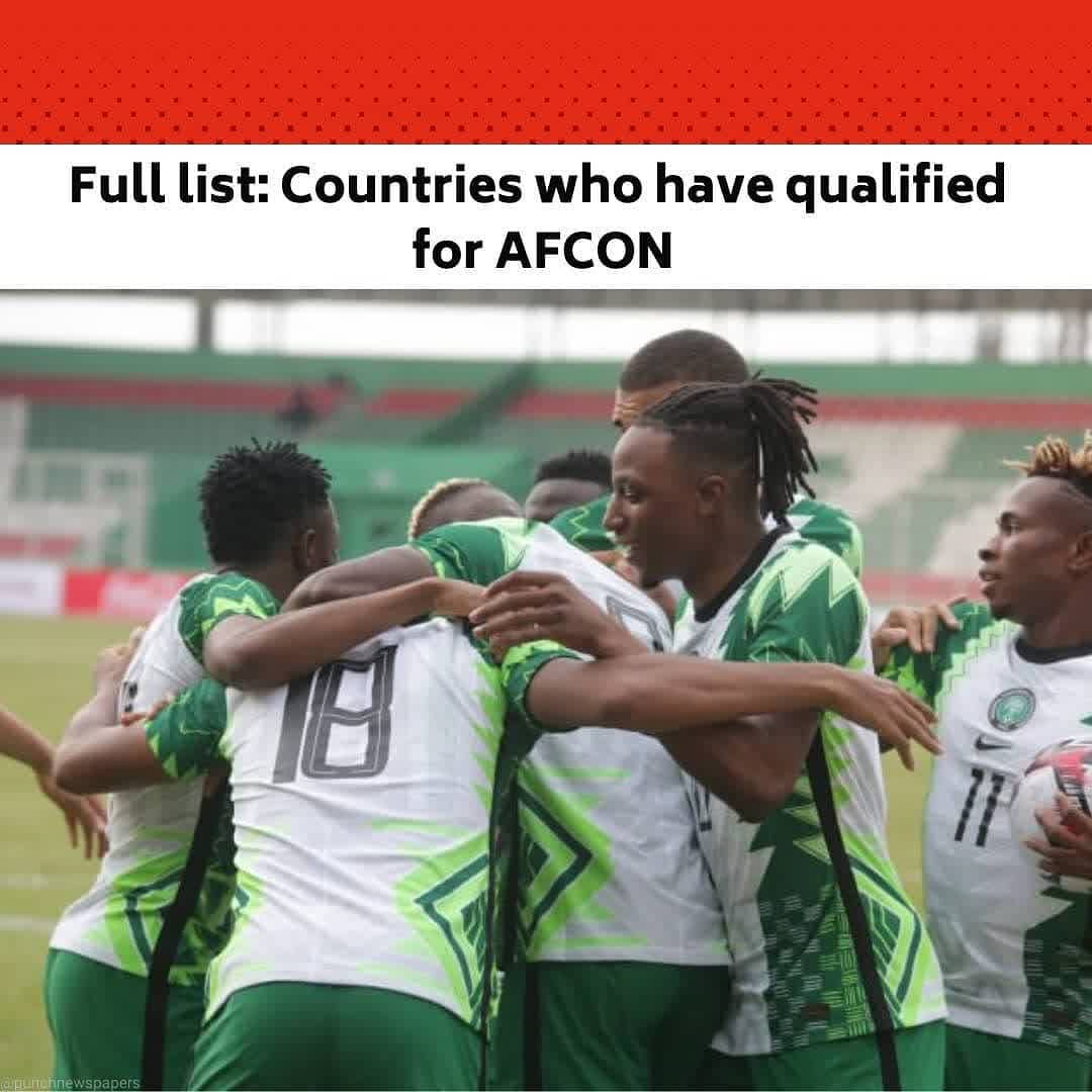 With a goalles draw in the Group L match between Lesotho and Sierra Leone in Maseru, the Super Eagles became the 17th qualifiers for the 2021 Africa Cup of Nations. .  This came an hour before Nigeria's Paul Onuachu headed a stoppage-time winner to snatch a 1-0 matchday 5 victory in Benin Saturday.  .  Nigeria now have 11 points, Benin seven, Sierra Leone four and Lesotho three going into the final round of qualifiers Tuesday. .  While three-time African champions Nigeria host Lesotho in Lagos with only pride at stake, Cup of Nations qualification will be on the line when Sierra Leone confront Benin in Freetown. .  Full list of qualified nations: Algeria Burkina Faso Cameroon Comoros Egypt Equatorial Guinea Gabon Gambia Ghana Guinea Ivory Coast Mali Morocco Nigeria Senegal Tunisia Zimbabwe  Contenders (16, for seven places): Benin, Burundi, Cape Verde, Central African Republic, Congo Brazzaville, Ethiopia, Guinea-Bissau, Madagascar, Malawi, Mauritania, Mozambique, Rwanda, Sierra Leone, South Africa, Sudan, Uganda .  Eliminated (14): Angola, Botswana, Democratic Republic of Congo, Eswatini, Kenya, Lesotho, Libya, Namibia, Niger, Sao Tome e Principe, South Sudan, Tanzania, Togo, Zambia. .  Djibouti, Liberia, Mauritius and Seychelles were eliminated in a preliminary round and Eritrea and Somalia did not enter  Disqualified (1): Chad --