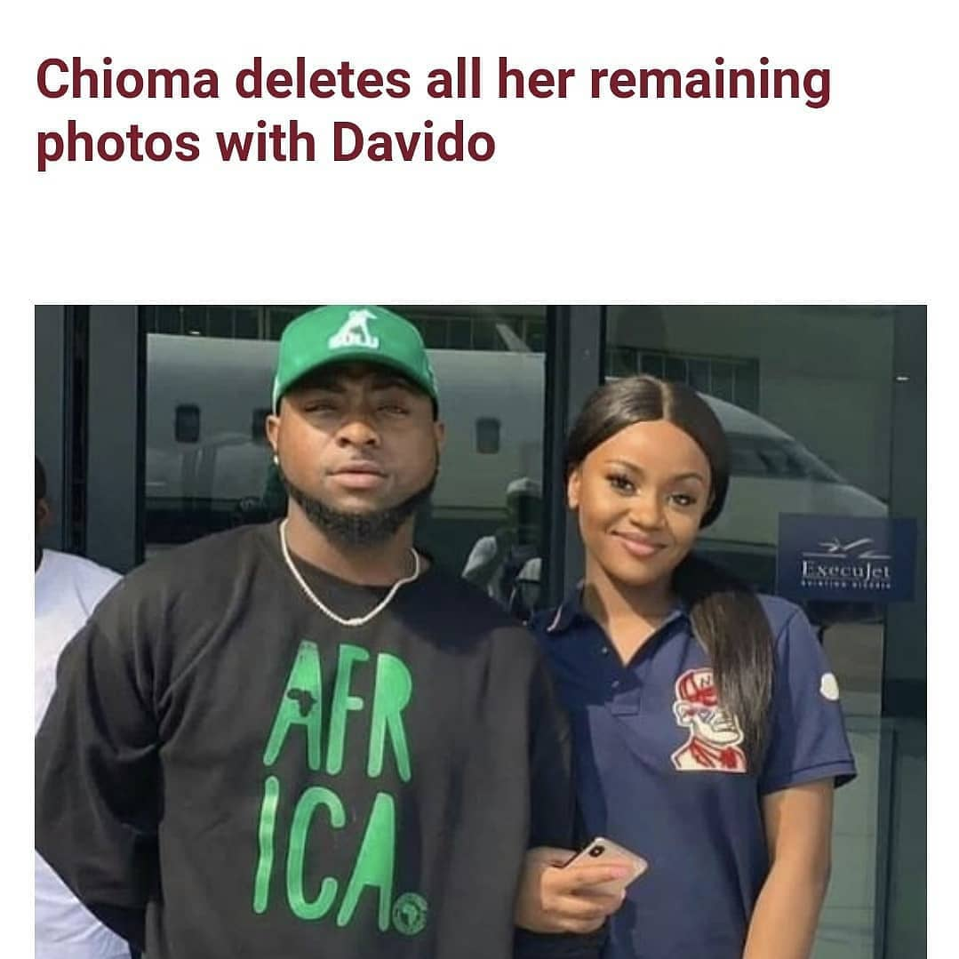 """Chioma Rowland, ex-fiance of Davido has deleted all her remaining photos with the singer on her IG page days after reports of his romance with Mya Yafai, ex-girlfriend of American rapperYoung Ma made headlines.  The only post that has a link to Davido that she left on her page is his """"A Better Time"""" album cover which features him and their son Ifeanyi."""