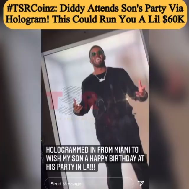 Diddy hologramed into his son Christian Combs' party to sing him happy birthday chile  He could apparently see and hear the crowd via this life-size 4k hologram!  Y'all can do this to if you have about $60K which is the reported average price for something like this