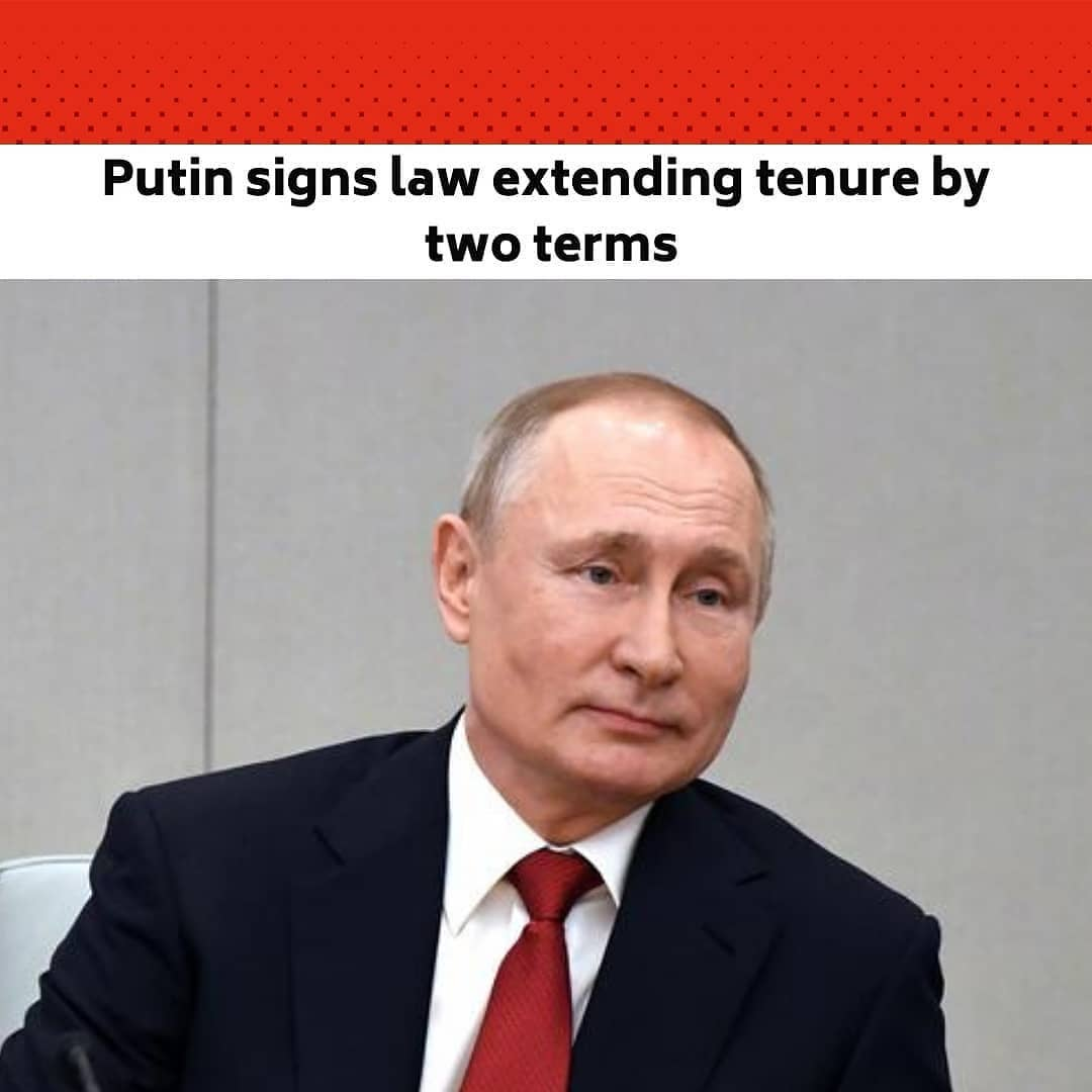 Russian President Vladimir Putin on Monday gave final approval to legislation allowing him to hold office for two additional six-year terms, opening the possibility for him to stay in power until 2036.  The 68-year-old Russian leader, who has already been in power for more than two decades, signed off on the bill Monday, according to a copy posted on the government's legal information portal.  Putin proposed the change last year as part of constitutional reforms that Russians overwhelmingly backed in a vote in July. Lawmakers approved the bill last month.  The legislation will reset presidential term limits, allowing Putin to run in elections again after his current and second consecutive term expires in 2024.  Putin was first elected president in 2000 and served two consecutive four-year terms. His ally Dmitry Medvedev took his place in 2008, which critics saw as a way around Russia's limit of two consecutive terms for presidents.  While in office, Medvedev signed off on legislation extending terms to six years starting with the next president.  Putin then returned to the Kremlin in 2012 and won re-election in 2018.  The term reset was part of constitutional reforms that included populist economic measures and sweeteners for traditionalists such as an effective ban on gay marriage.  Russians voted yes or no to the entire bundle of amendments in a vote last summer that was held over the course of a week, in a move authorities said was aimed at limiting the spread of the coronavirus but critics said left the process open to manipulation.  – 'President for life' – Golos, an independent election monitor, criticised the format of the vote, saying Russians should have been able to vote for each separate change.  It also said it received hundreds of complaints of violations, including people voting multiple times.  Russians ultimately voted 78 per cent in favour of the changes.  Kremlin opponents have said the constitutional reforms were a pretext to allow Putin to become