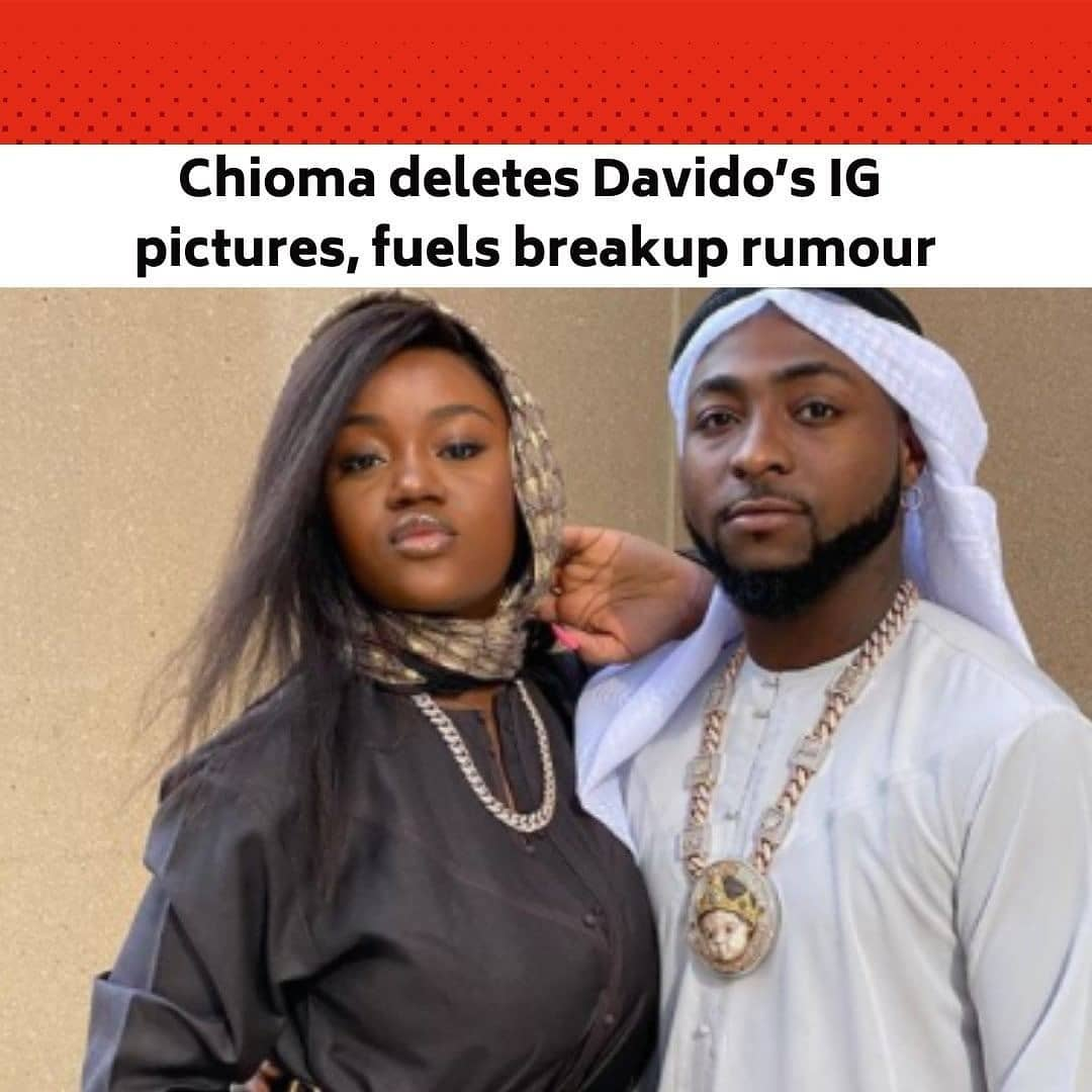 "The drama between pop star, David Adeleke, better known as Davido, and his fiancée and mother of his son, Chioma Rowland, aka Chef Chi, has continued to set tongues wagging on the Internet and offline. . On Friday (yesterday), Chef Chi practically deleted all the pictures of her child, Ifeanyi's daddy, Davido, from her Instagram page, leaving only one displaying the DMW boss with their son. This comes amidst speculations that the relationship between the couple is no longer as rosy as it used to be. Recall that in 2020, the duo had 'unfollowed' each other on Instagram and that action generated a whirlwind of reactions. However, they later resumed 'following' each other, which made many speculate that the 'unfollowing' was a publicity stunt. . During the week, a picture of Davido kissing an American Instagram model, Mya Yafai, had gone viral. . For months now, Davido had been rumored to be in a relationship with Yafai and different pictures of the two of them together have gone viral on the Internet. The model was said to have spent the Christmas and New Year holidays with Davido in Nigeria and Ghana. The duo was also seen holding hands at a beach house sometime in February. . Davido and Chioma were reportedly supposed to get married in 2020 though the COVID-19 pandemic scuttled their plans. This was after a formal introduction ceremony between both families in September 2019. But, in an interview in the latter part of 2020, Davido maintained that their wedding would happen this year. . Meanwhile, fans have continued to make several comments on Chioma's action of deleting Davido's pictures. . A follower, @nas_manny wrote, ""Chioma does not deserve all this. After showing her to the whole world, he decided to treat her like garbage and used COVID-19 as an excuse not to carry on with their wedding."" . @ifynnama wrote, ""Chioma is too good for Davido to press her nursing breasts anyhow in public and still go ahead to break her heart publicly. Chioma deserves someone better."" --"